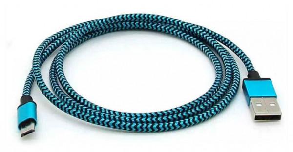 Edles Aluminiummetall Mikro USB Daten-Ladekabel blau