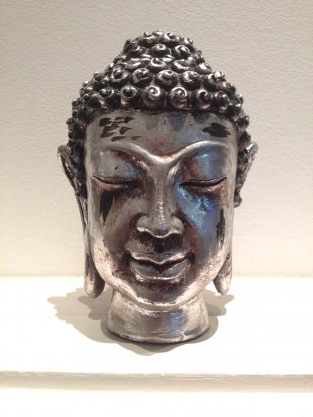 Buddha silver wooden head