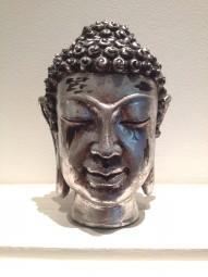 Buddha Silber Kopf aus Holz